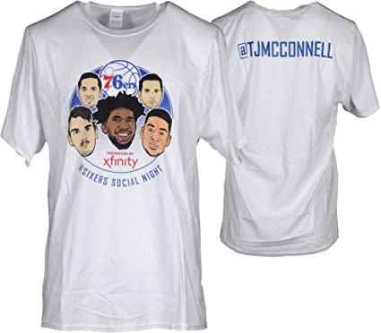 T.J. McConnell Philadelphia 76ers Player-Issued White quot Social Media  Night quot   TJMcConnell Shirt 92efeac61