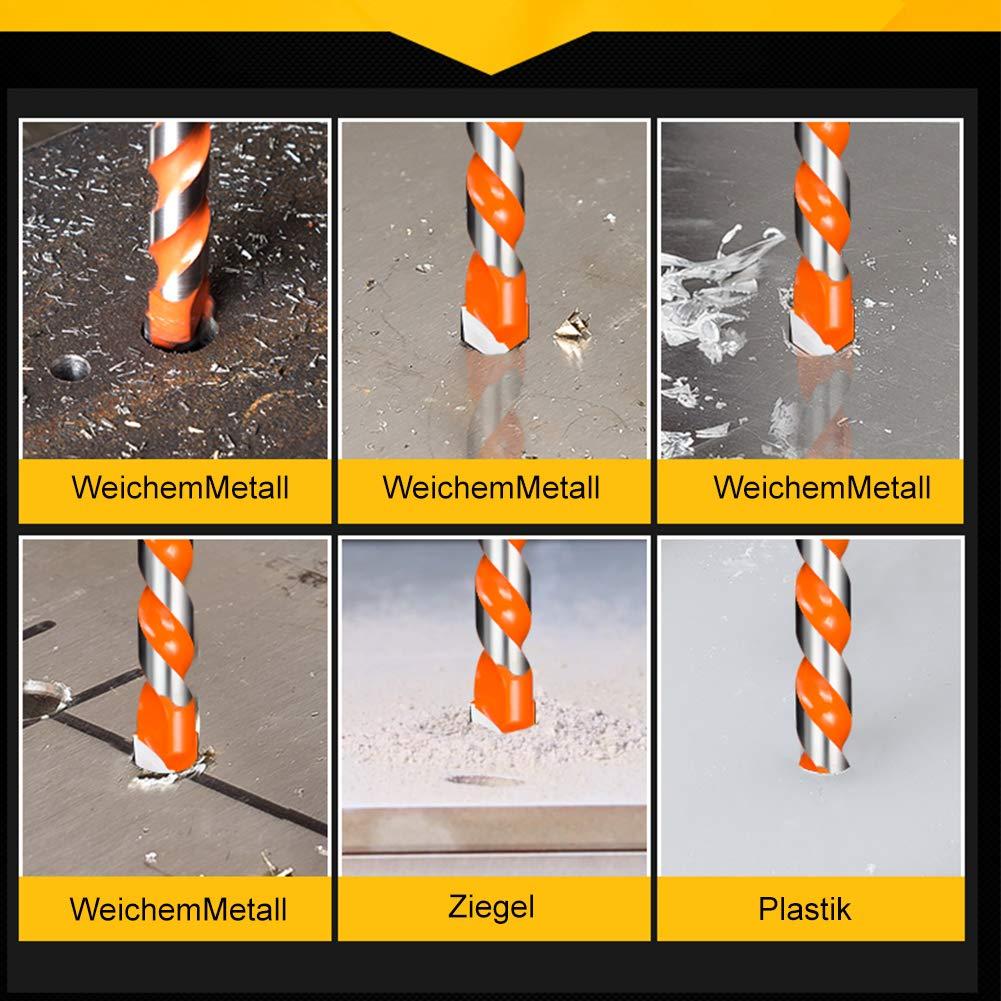 vetro Set di 6 punte da trapano per piastrelle in vetro 6//6//8//10//12 Triangel Lega plastica e legno per piastrelle JTENG cemento mattoni