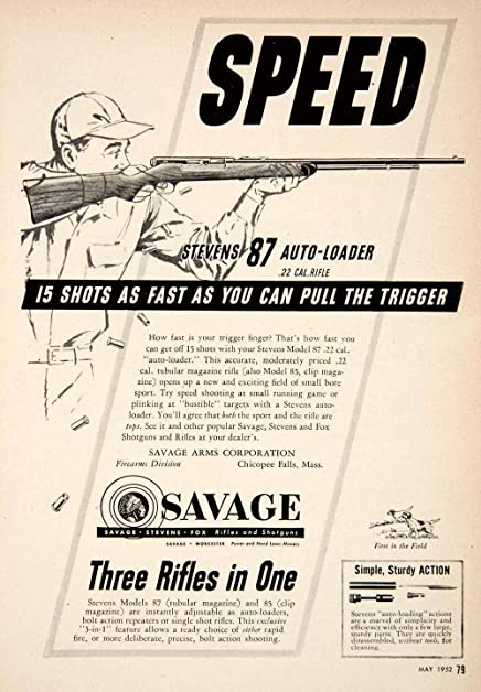 1952 advertisement savage rifles model 87 gun 85 hunting arms