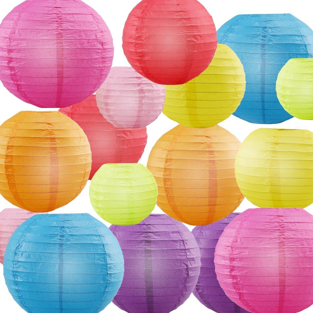 "Paper Lanterns, URBEST Decorative Paper Lanterns Rainbow Colors 4"", 6"", 8"", 10"" Round Hanging Decoration Lanterns Lamps for Party, Wedding, Home Decor, 16 Pack"