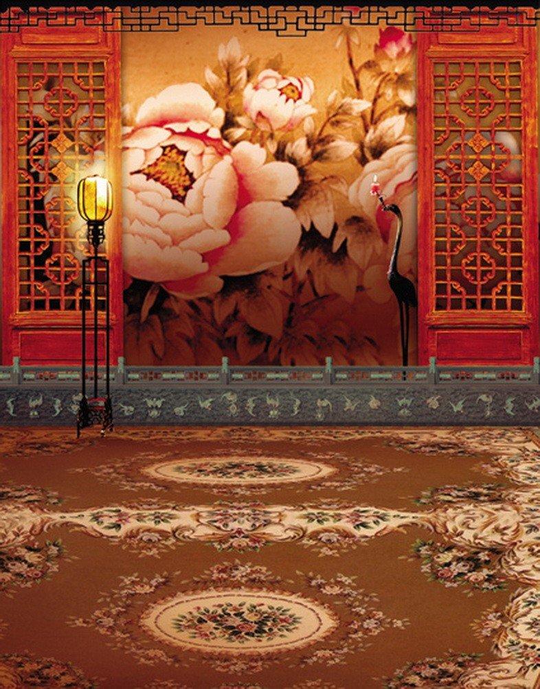 A Monamour ChineseレッドHollowout画面Peony壁壁画花柄カーペットウェディングシーンStudio Props Studio写真背景ビニール   B01KTO3WZQ
