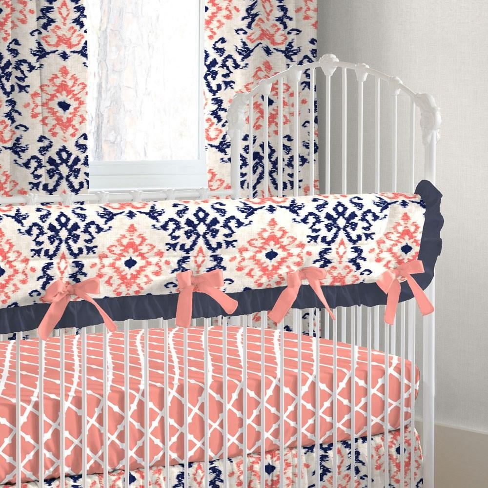 Carousel Designs Navy and Coral Ikat Crib Rail Cover by Carousel Designs