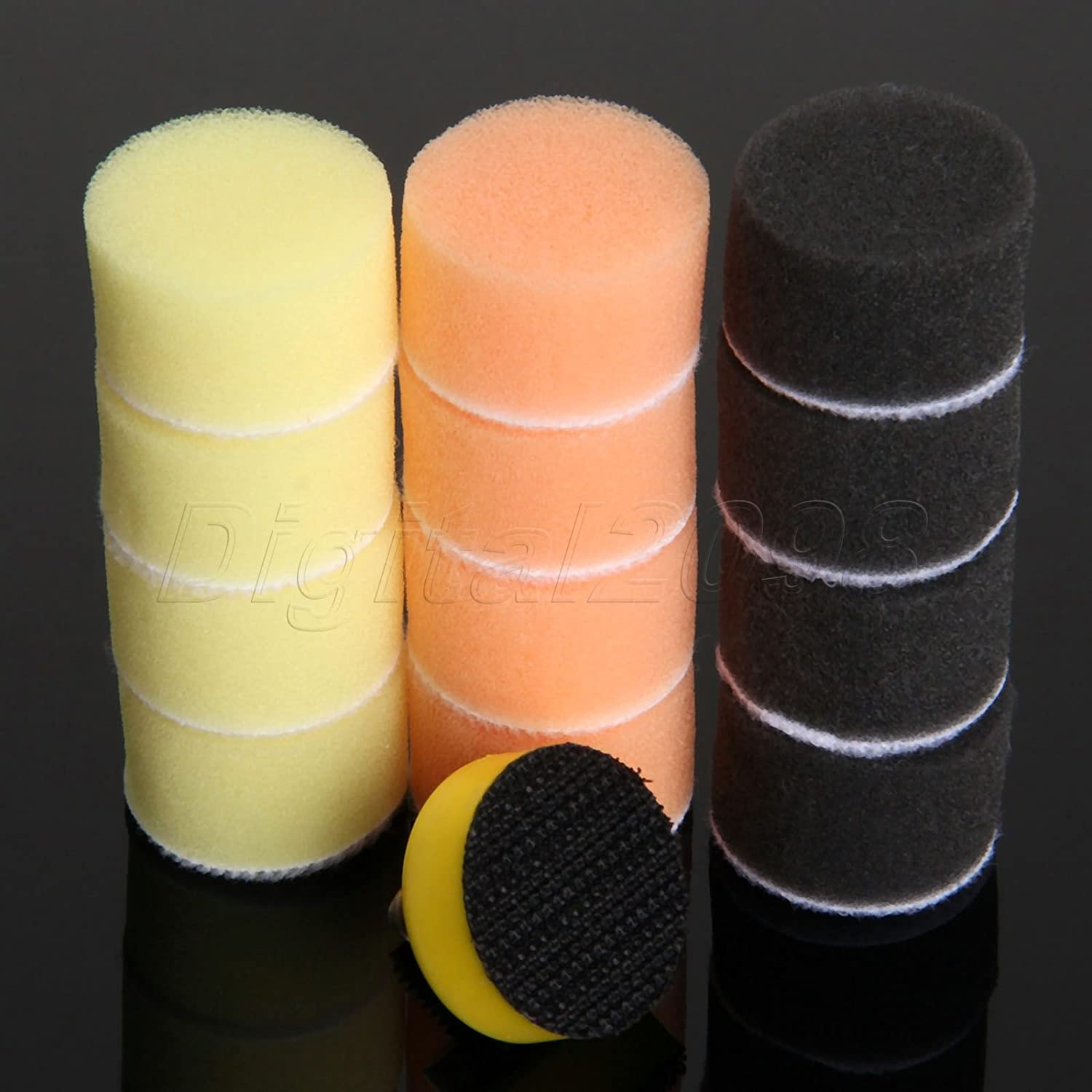 Iris-Shop 50Pc 1 Inch 25mm Sponge Buffing Polishing Waxing Pad Kit for Car Polisher Wash M6 Backer Plate Polish Tool Car-Styling