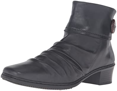 Rieker 74563 Kendra 63 Casual Leather Boot Shoe - Black Leather - Womens -  37