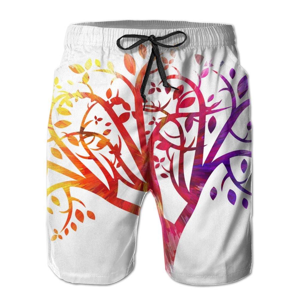 Sunshine Art Tree Mens Beach Shorts Elastic Waist Pockets Lightweight Swimming Board Short Quick Dry Short Trunks