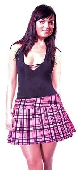 ceb3f7e18f SenecaClothing Baby Pink and Black Printed Schoolgirl Tartan Plaid Pleated  Mini Skirt Baby Pink X-