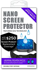 Qmadix $250 Screen Replacement Guarantee- Invisible First Defense Nano Liquid Glass Screen Protect+ for Smart Watches (Apple Watch)