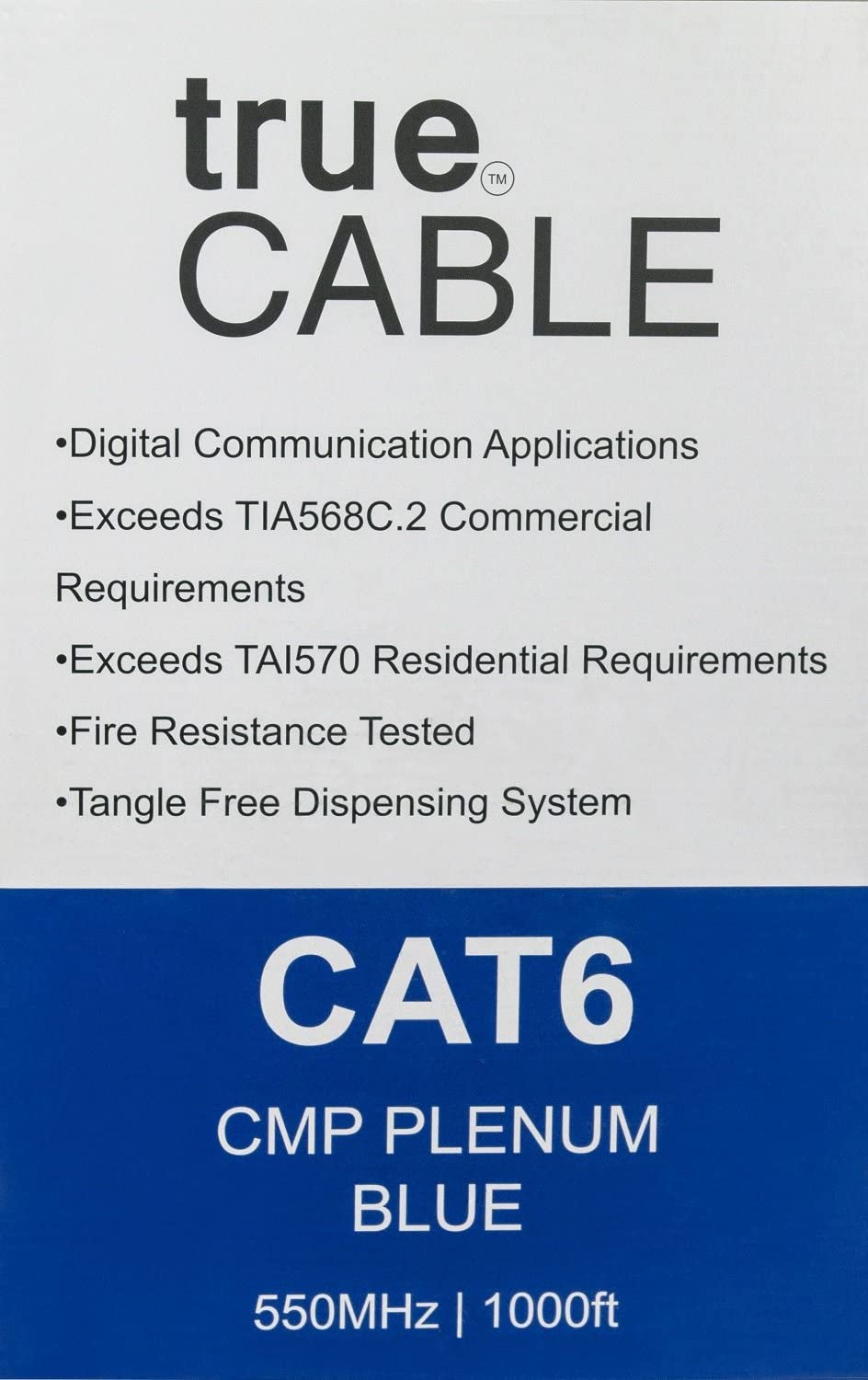 trueCABLE Cat6 Plenum (CMP), 1000ft, Blue, 23AWG 4 Pair Solid Bare Copper, 550MHz, ETL Listed, Unshielded Twisted Pair (UTP), Bulk Ethernet Cable: Computers & Accessories