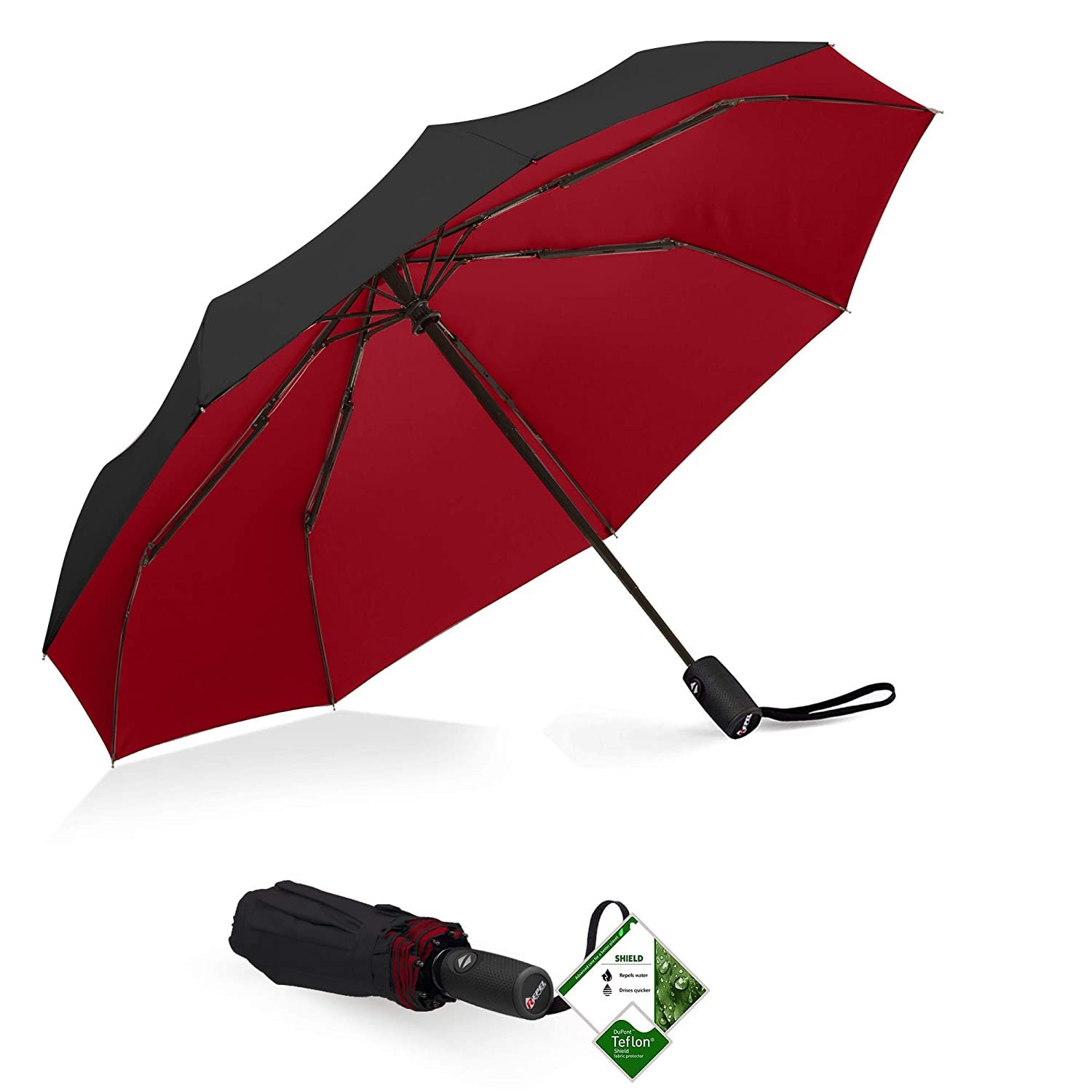 Repel Windproof Travel Umbrella with Teflon Coating (Black/Red)