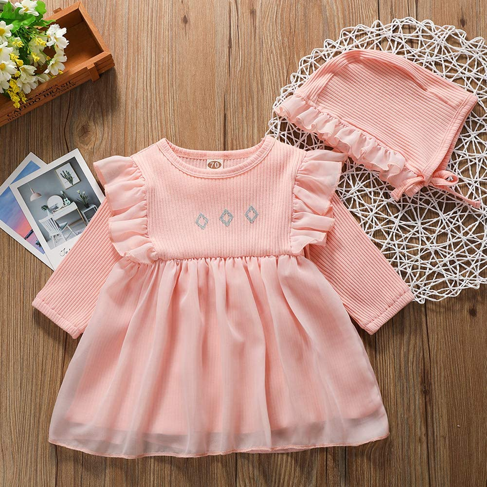URMAGIC Newborn Baby Girls Clothes Infant Solid Color Ruffle Long Sleeve Dress Hat Baby Princess Dress for Christening Gifts