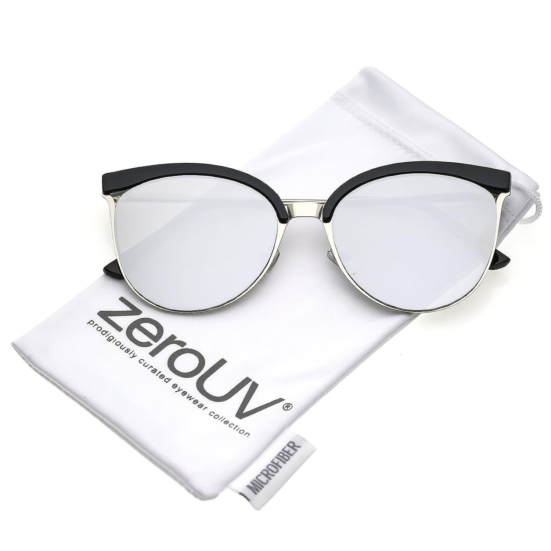 c41917e9f1 Amazon.com  zeroUV - Modern Semi Rimless Cutout Slim Arms Mirrored Flat lens  Cat Eye Sunglasses 55mm (Black Silver Silver Mirror)  Clothing