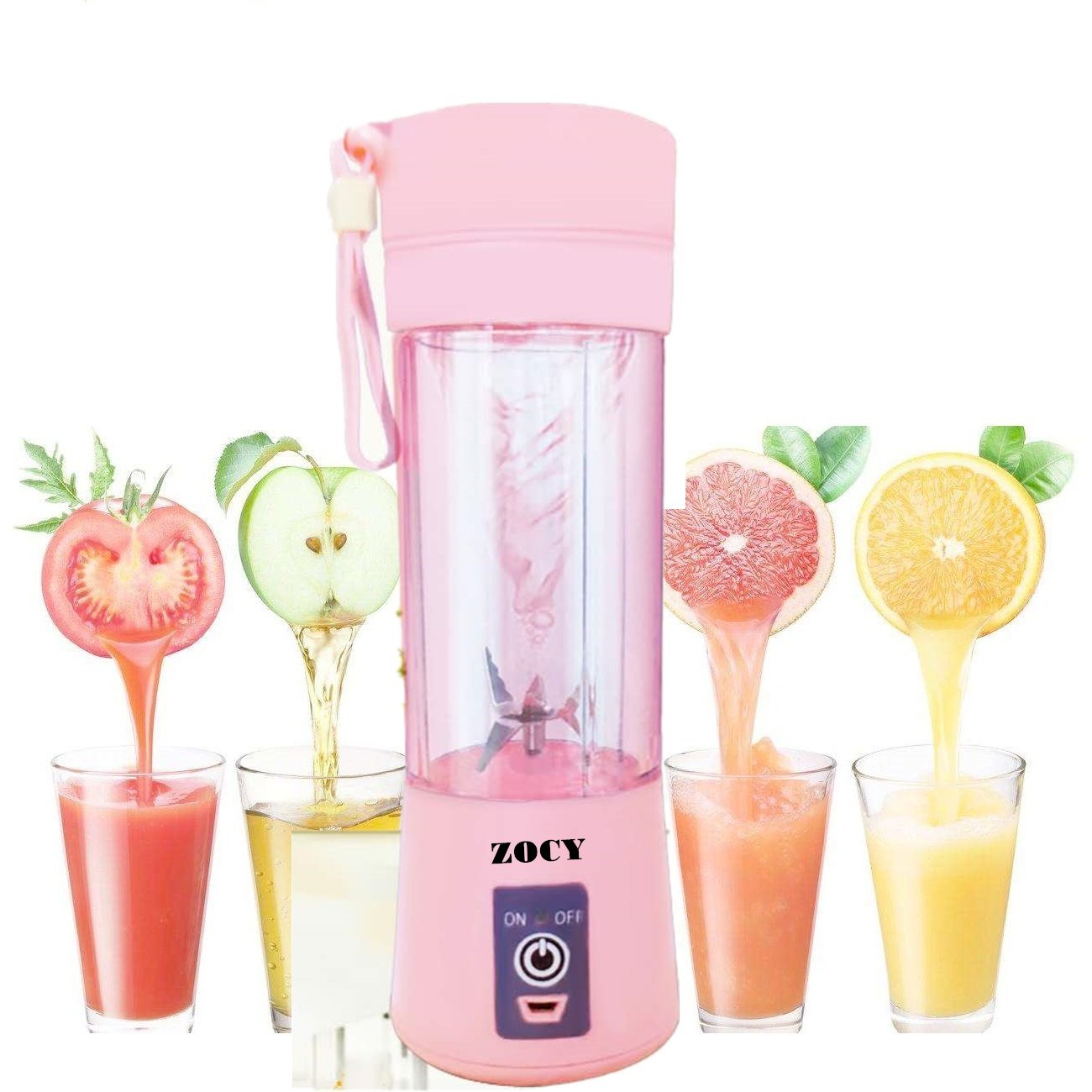 ZOCYE [New Version] Portable Juicer Blender USB Juicer Cup Personal Blender 6 Blades Rechargeable Fruit Mixing Machine For Baby Travel 380ml(Pink)