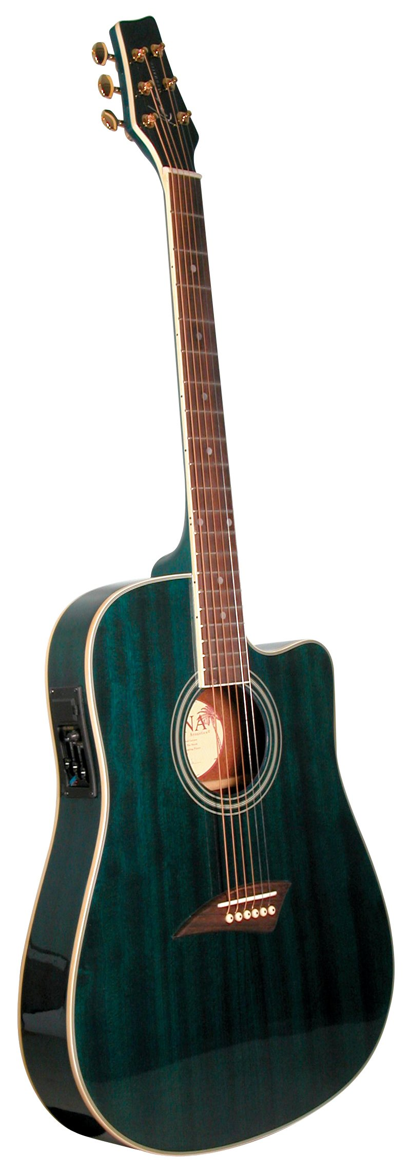 Kona K2TBL Acoustic Electric Dreadnought Cutaway Guitar in Transparent Blue Finish by Attcny