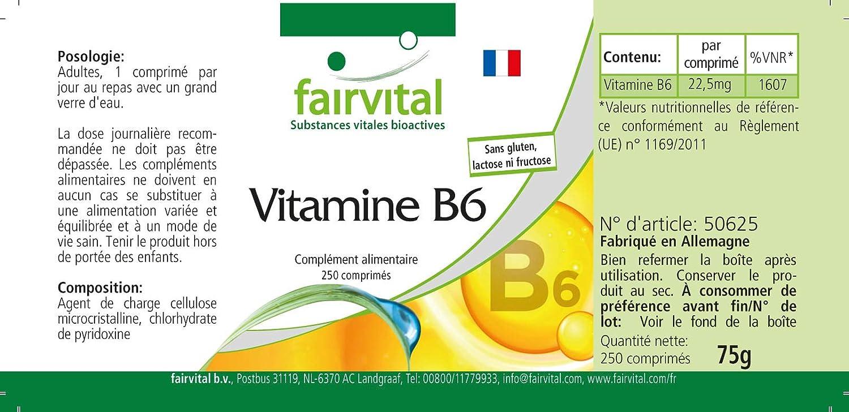 Vitamina B6 - VEGANO - 250 Comprimidos - 22,5mg Piridoxina: Amazon.es: Salud y cuidado personal