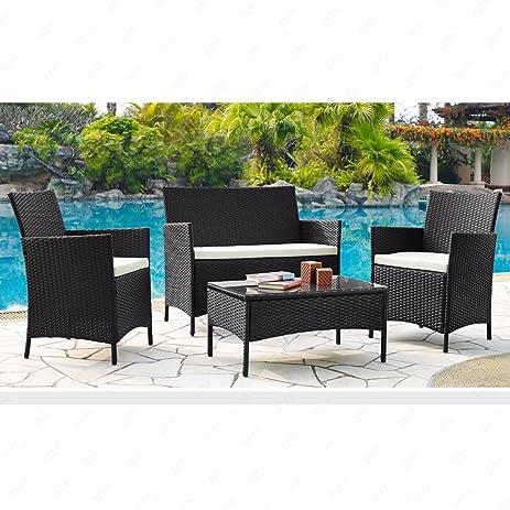 U.Rattan 4PC Outdoor Rattan Wicker Patio Furniture Set Cushioned Sofa U0026  Table Garden Lawn