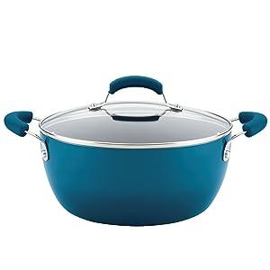 Rachael Ray 17661 Hard Enamel Casserole, Marine Blue Gra