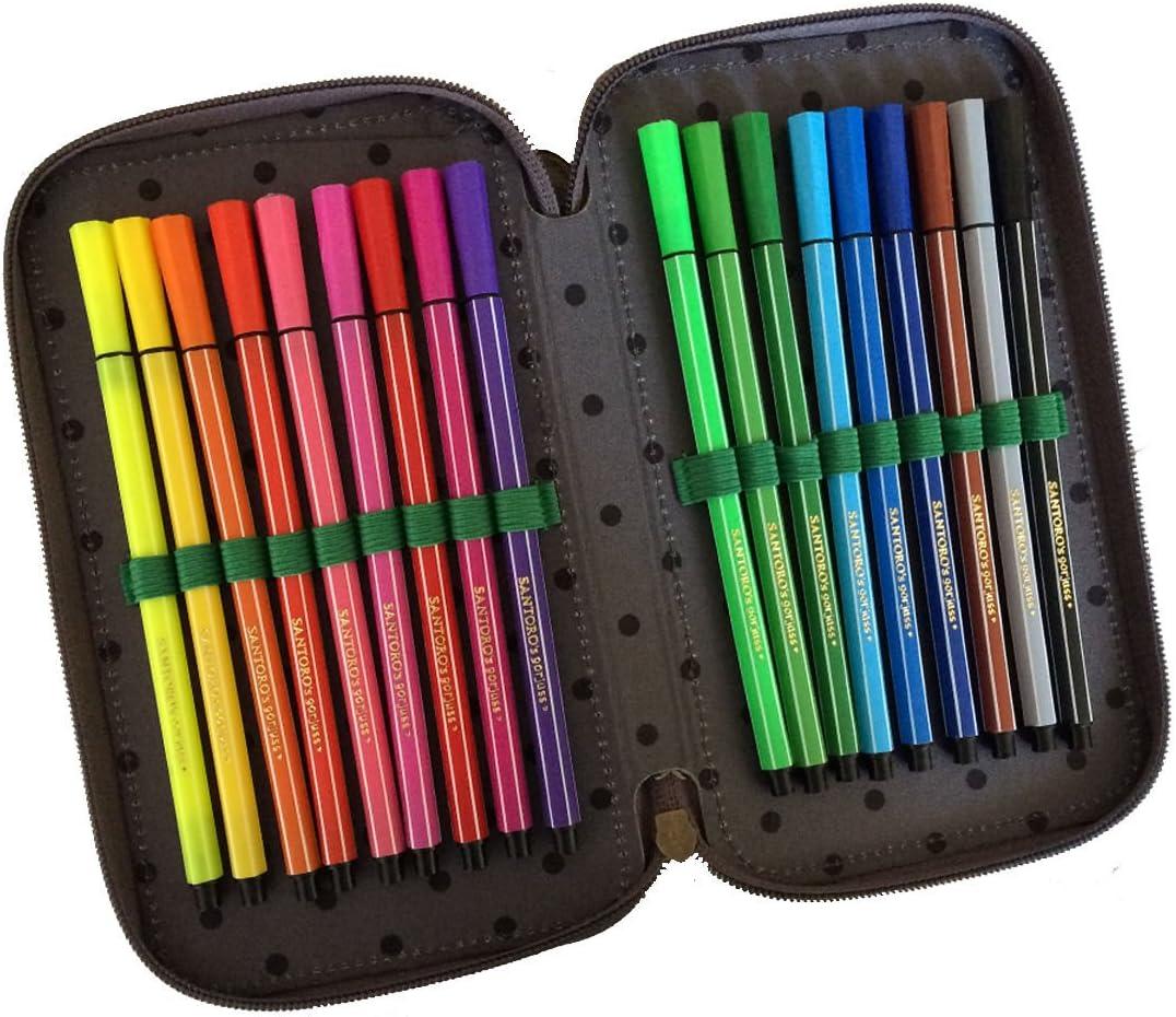 Estuche Escolar Gorjuss 3 con cremallera completa, color verde / marrón, de Santoro London + incluye lápiz de purpurina: Amazon.es: Deportes y aire libre