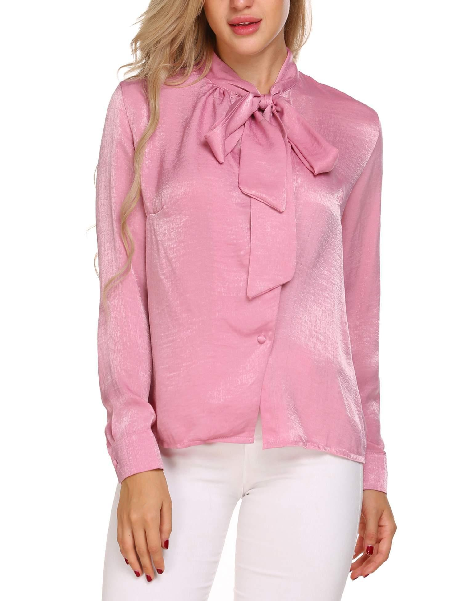 SoTeer Women's Bow Neck Long Sleeve Casual Top Slim Blouse Pink