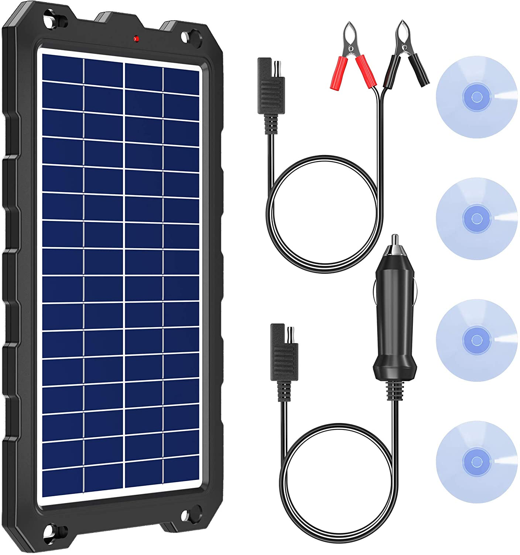 POWOXI Solar Battery Charger 12 Volt 10W Solar Panel Kit for Car, Boat, RV, Trailer