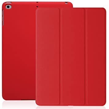 KHOMO Funda iPad Air 1 - Carcasa Roja Protectora Ultra Delgada y Ligéra con Smart Cover y Soporte para Apple iPad Air 1 - Rojo