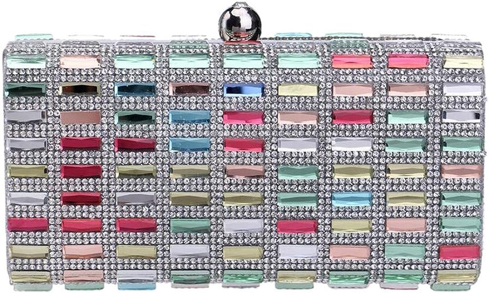 Mlotus Crystal Rhinestone Evening Handbag Clutch with Detachable Chainc