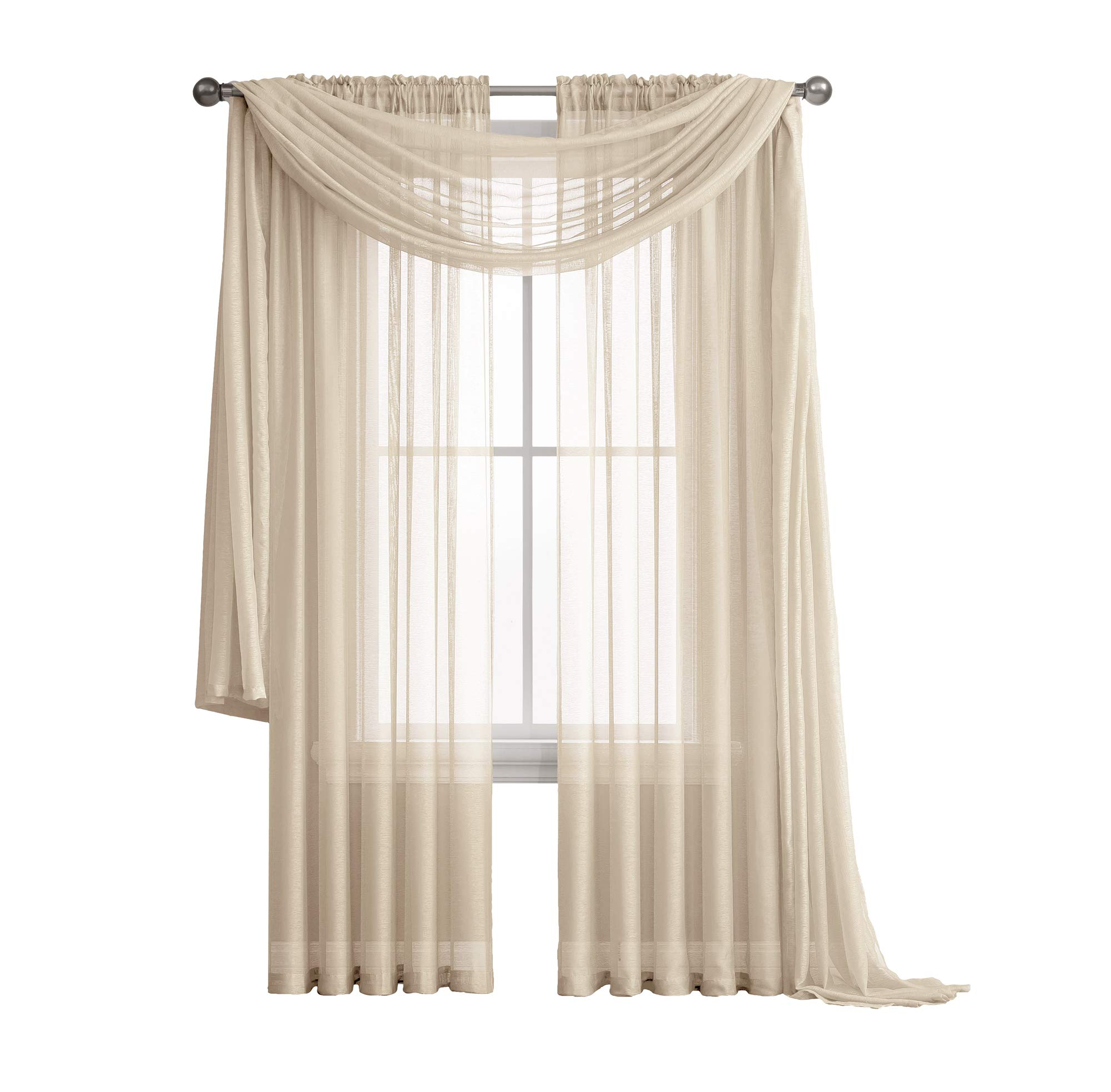 Jane - Rod Pocket Semi-Sheer Curtains - 2 Pieces - Total Size 108'' W x 84'' L - Natural Light Flow Material Durable - for Bedroom - Living Room - Kid's Room and Kitchen (Beige)