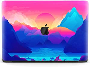 Mertak Hard Case for Apple MacBook Pro 16 Air 13 inch Mac 15 Retina 12 11 2020 2019 2018 2017 Pink Bright Print Laptop Touch Bar Mountains Plastic Sun Trippy Landscape Blue Protective Cover Design