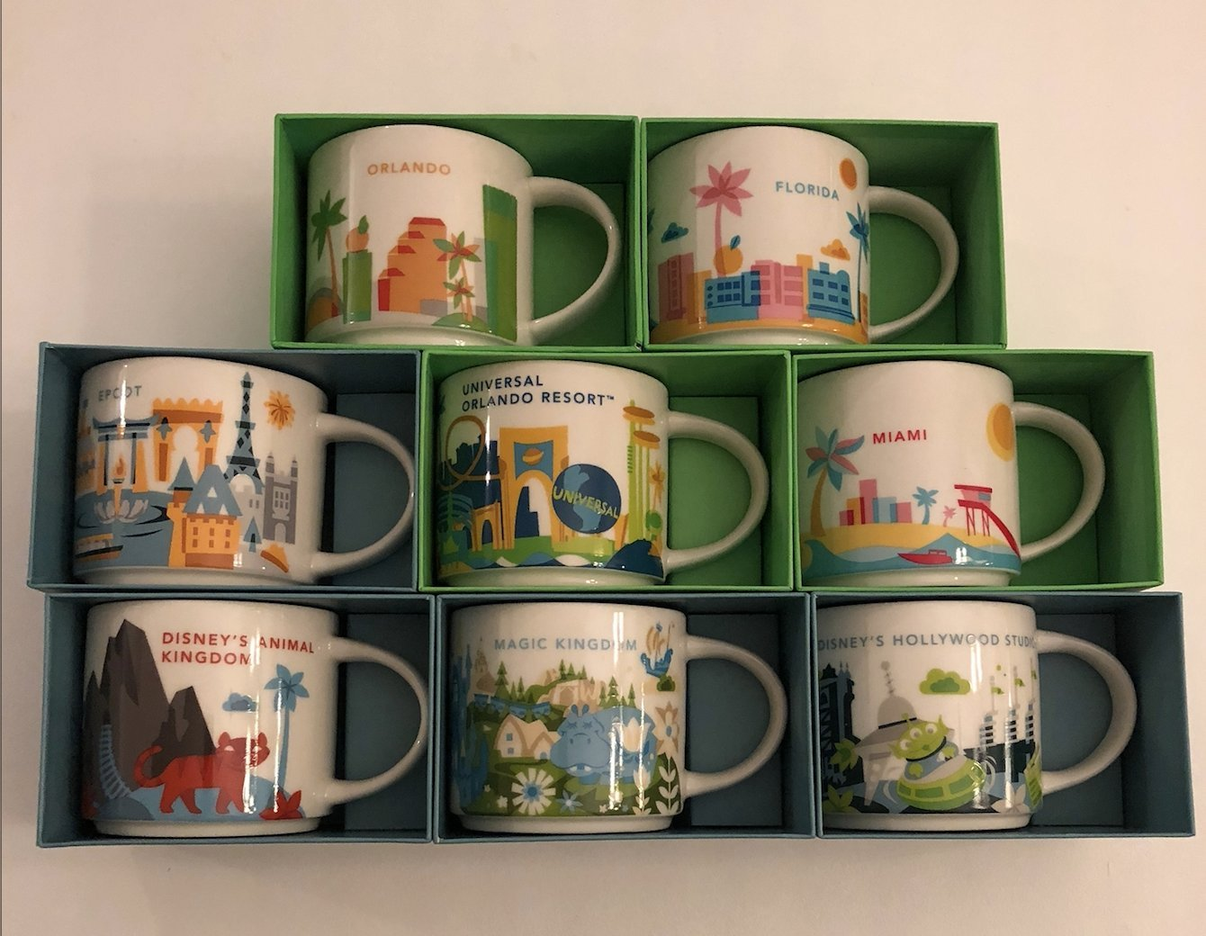 Set of 8: Disney's Animal Kingdom, Magic Kingdom, EPCOT, Hollywood Studios, Universal Studios Orlando Resort, Orlando, Florida and Miami You Are Here 14 Oz. Starbucks Mugs