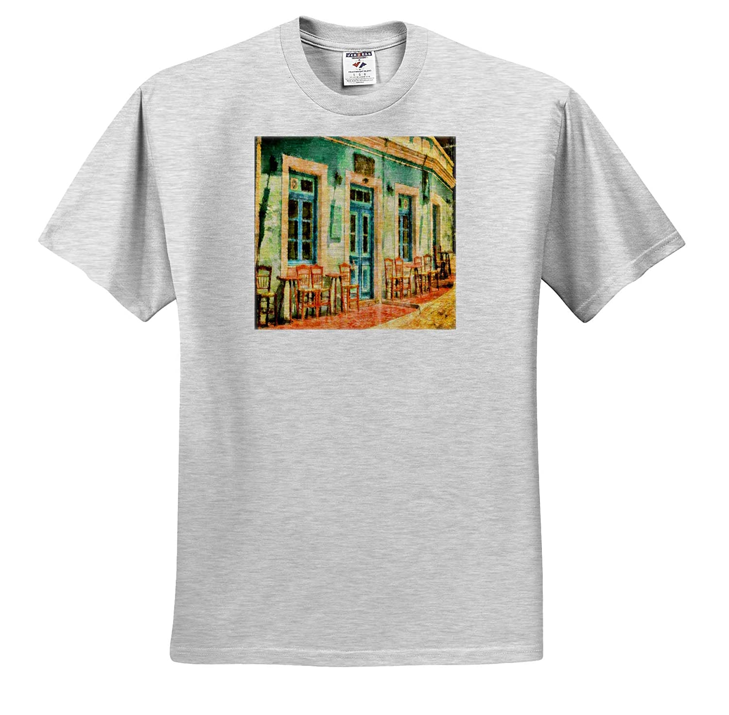 T-Shirts Image of Outdoor Caf/é in Greece Painting 3dRose Lens Art by Florene Watercolor Art