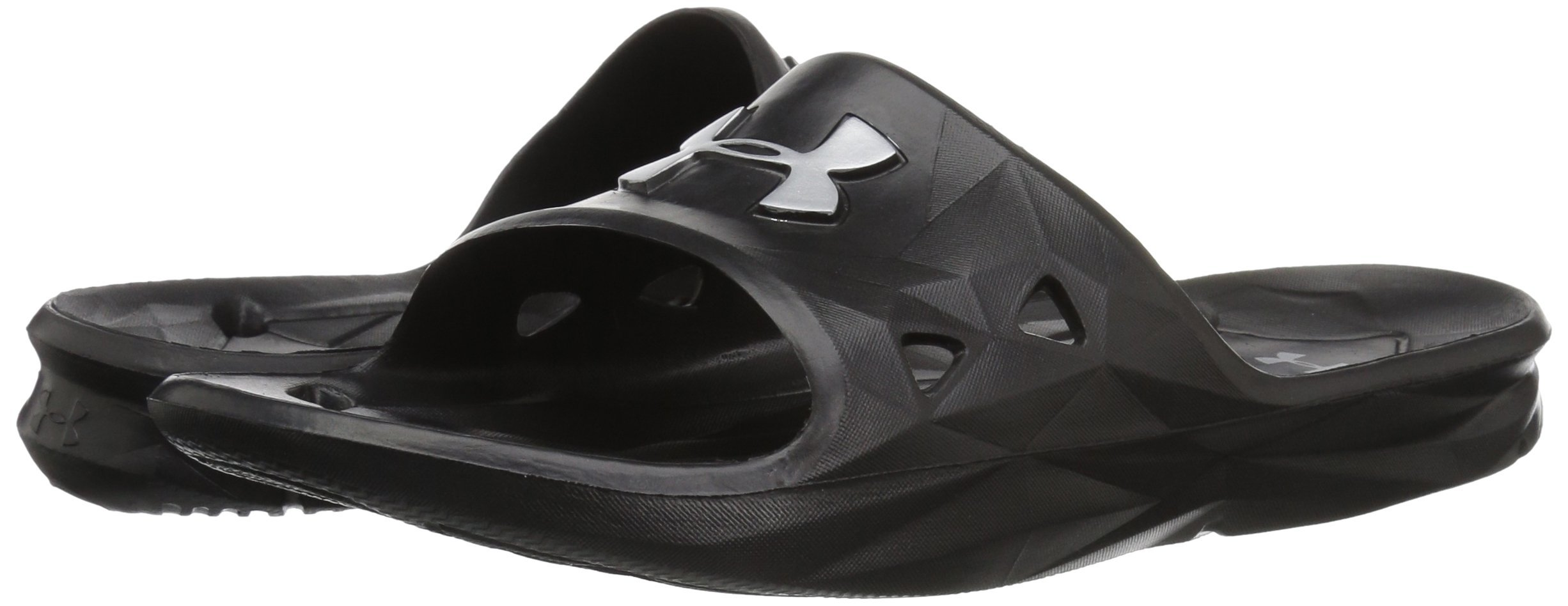 UNDER ARMOUR Men's Locker III Slide Sandal, Black (001)/Metallic Silver, 10