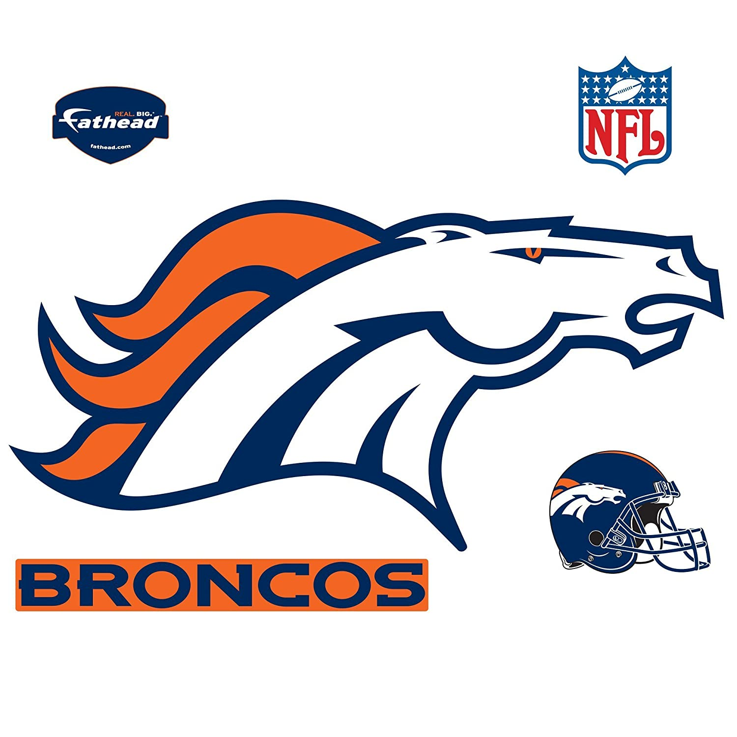 f6a7dd216 Amazon.com   Fathead NFL Denver Broncos Denver Broncos  Logo - Giant  Officially Licensed NFL Removable Wall Decal   Sports Fan Wall Banners    Sports   ...