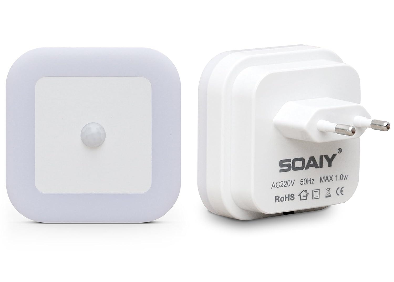 soaiy led nachtlicht mit bewegungsmelder energiesparend steckdosenlicht 2er set ebay. Black Bedroom Furniture Sets. Home Design Ideas