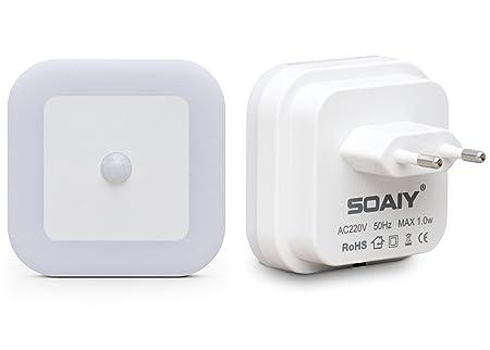 SOAIY 2er-Set LED Nachtlicht mit Bewegungsmelder energiesparend Steckdosenlicht PIR Sensorleuchte Warmweiß Kinderzimmer Flur