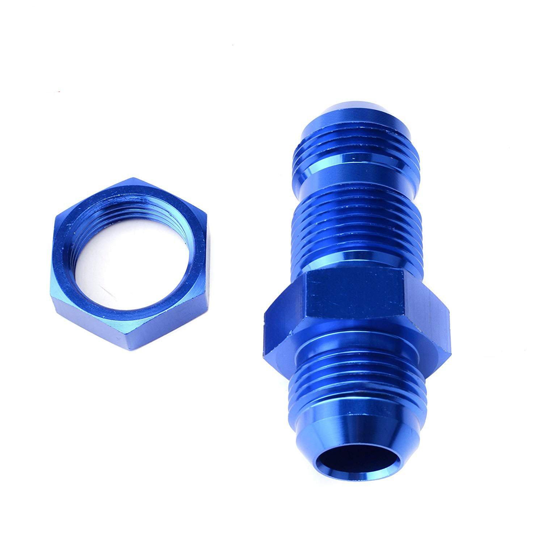 EVIL ENERGY 10AN AN10 Straight Bulkhead Hose Fitting Adapter Aluminum Blue