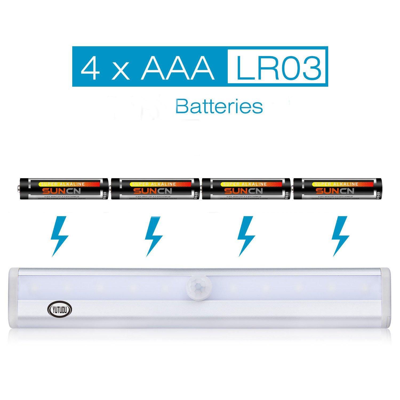 YUTUDU Motion Sensor Cabinet Light Auto On/Off Portable Cordless Night Light 10LED White Light Stick-on for Closet Cabinet Wardrobe Corridor Indoor Stair 3 pack