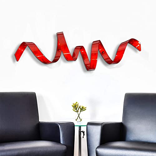 Contemporary Red Metal Wall Sculpture