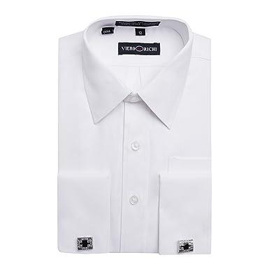 b5731b5ec3a8 Viero Richi Boy's French Cuff Dress Shirt Regular & Husky Sizes (Cufflinks  Included) -