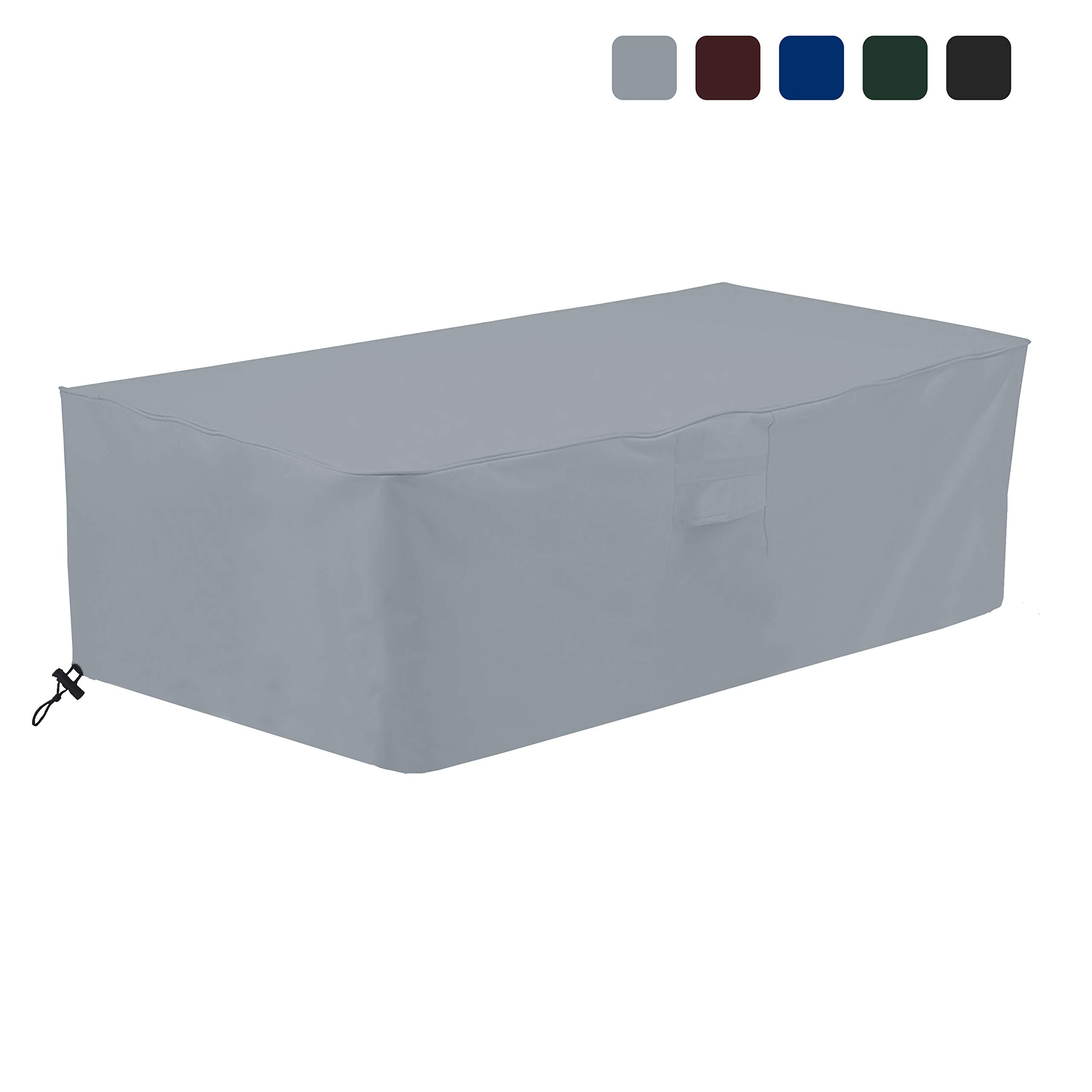 COVERS & ALL Fire Pit Cover Rectangular 18 Oz Waterproof - 100% UV & Weather Resistant Custom Size Gas Fire Pit Cover with Air Pockets and Drawstring for Snug Fit (48'' W x 25'' D x 18'' H, Grey) by COVERS & ALL