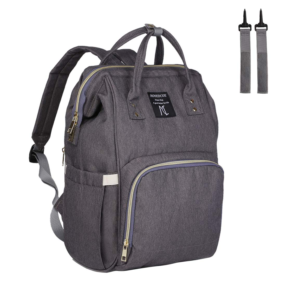 64b175e09f38c Mooedcoe Baby Nappy Changing Bag Rucksack Diaper Bag Nappy Changing Backpack  for Mom and Dad (Grey)  Amazon.co.uk  Baby