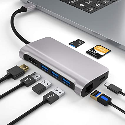 Sgin Usb C Hub 8 In 1 Type C Hub Adapter With Multiple Computers Accessories