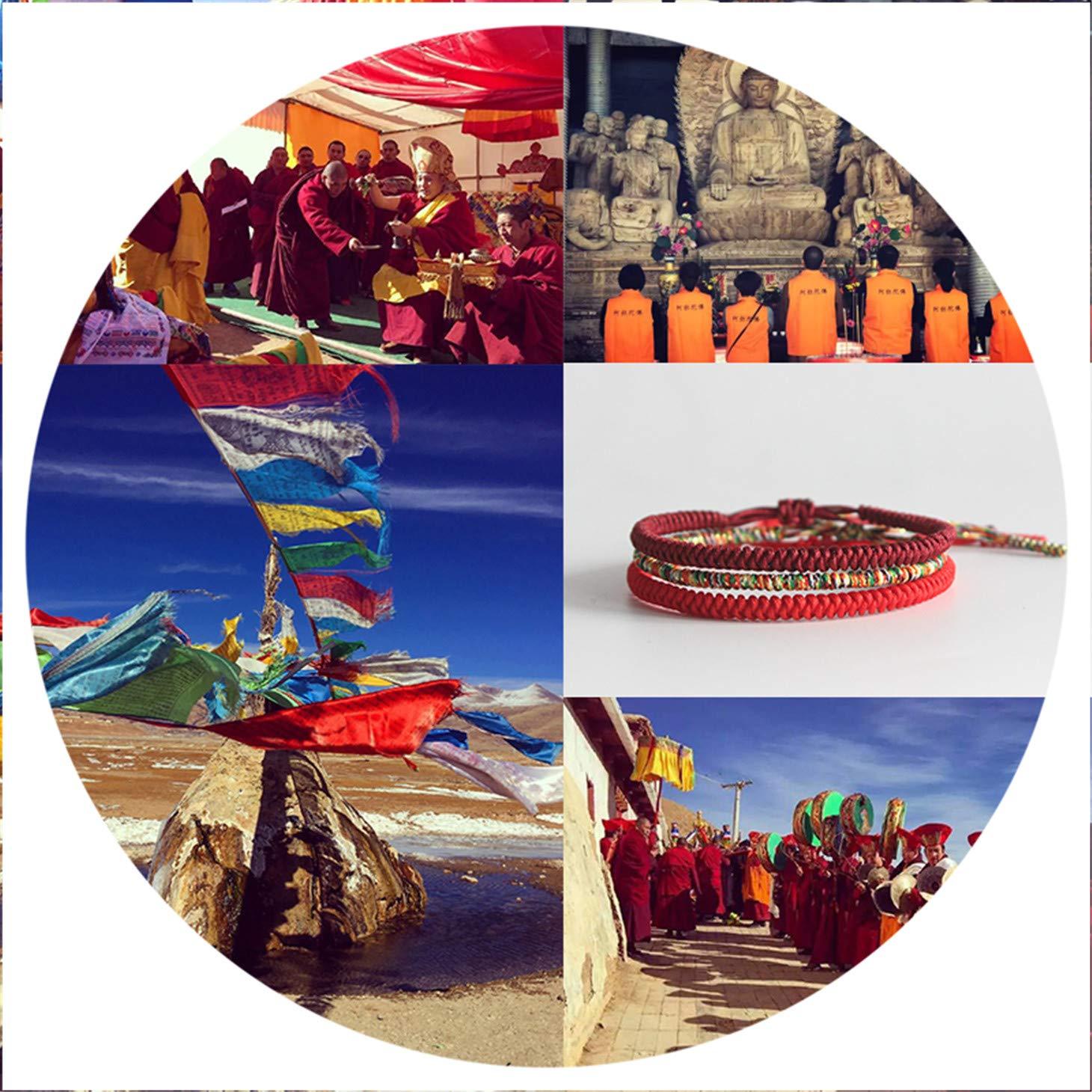 Olive Tayl 3PCS Multi Color Tibetan Buddhist Good Lucky Charm Tibetan Bracelets & Bangles for Women Men Handma by Olive Tayl (Image #4)