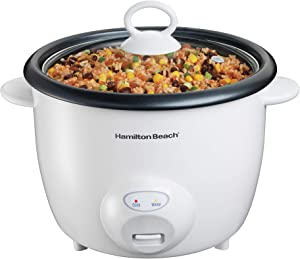 Hamilton Beach Rice Cooker & Food Steamer 20 Cups Cooked (10 Uncooked), White (37532N)
