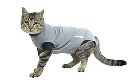 "Kruuse Buster Body Suit for Cats, Grey/Black, 11.5""/Size 3X"