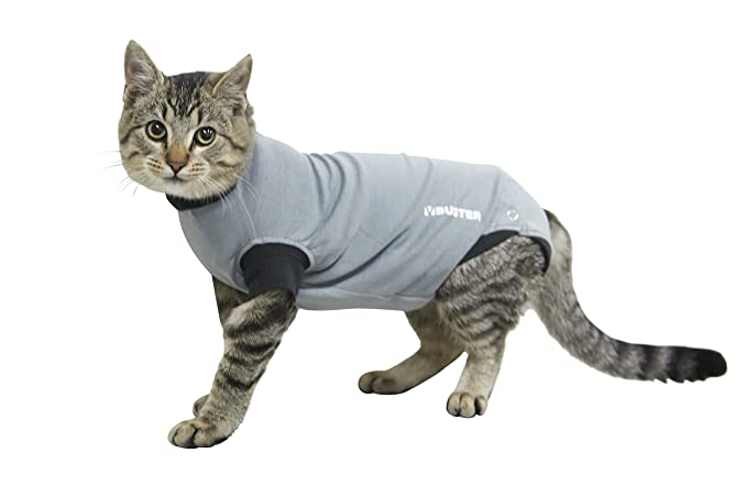 Amazon.com : Kruuse Buster Body Suit for Cats, Grey/Black, 13.5