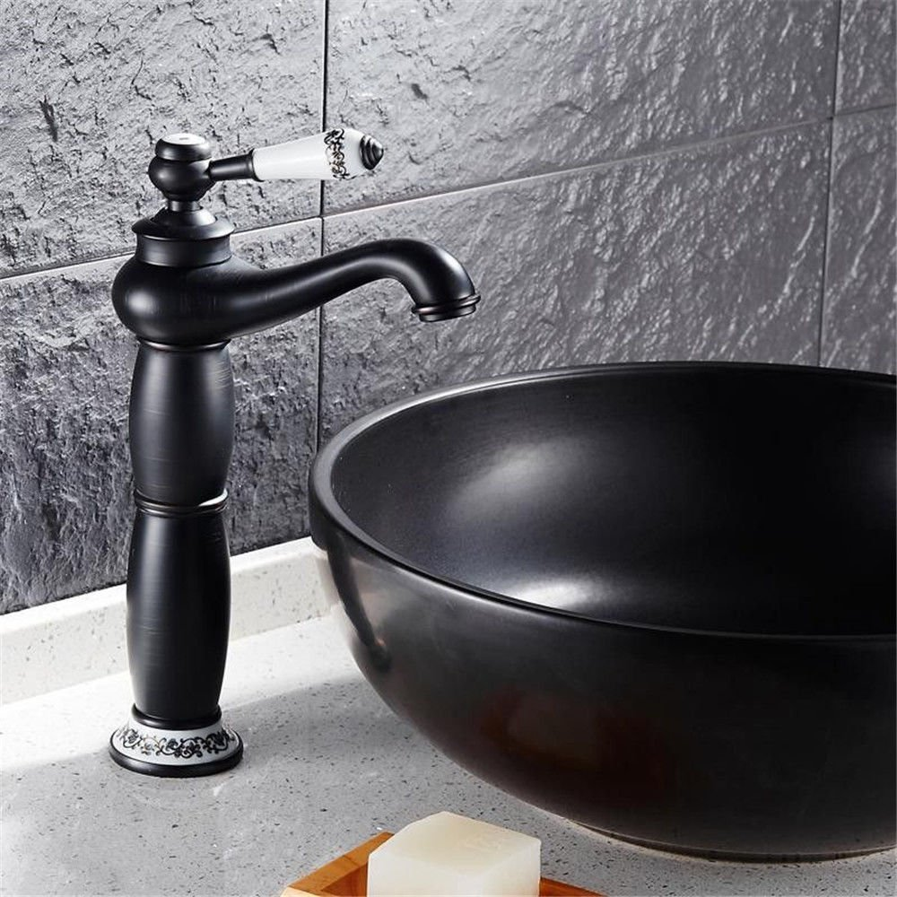 Home Tap Schwarz Wasserhahn Antik Kupfer über Zähler Waschbecken Wasserhahn Waschbecken Heißes und kaltes Wasser einzigen Loch Badezimmer Wasserhahn
