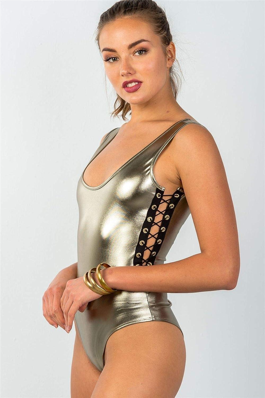 Ladies Fashion Metallic Gold Contrast Strappy Sides Bodysuit