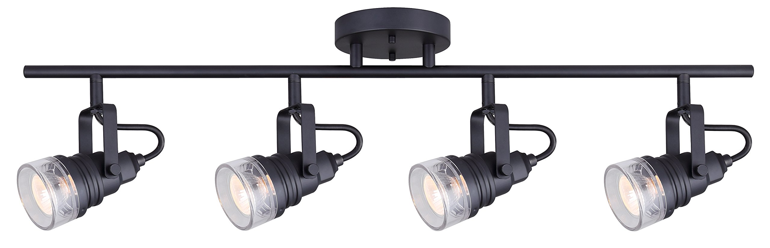 Canarn Brock 4 Light Track Light with Adjustable Heads and Clear Glass - Matte Black - Easy Connect Included