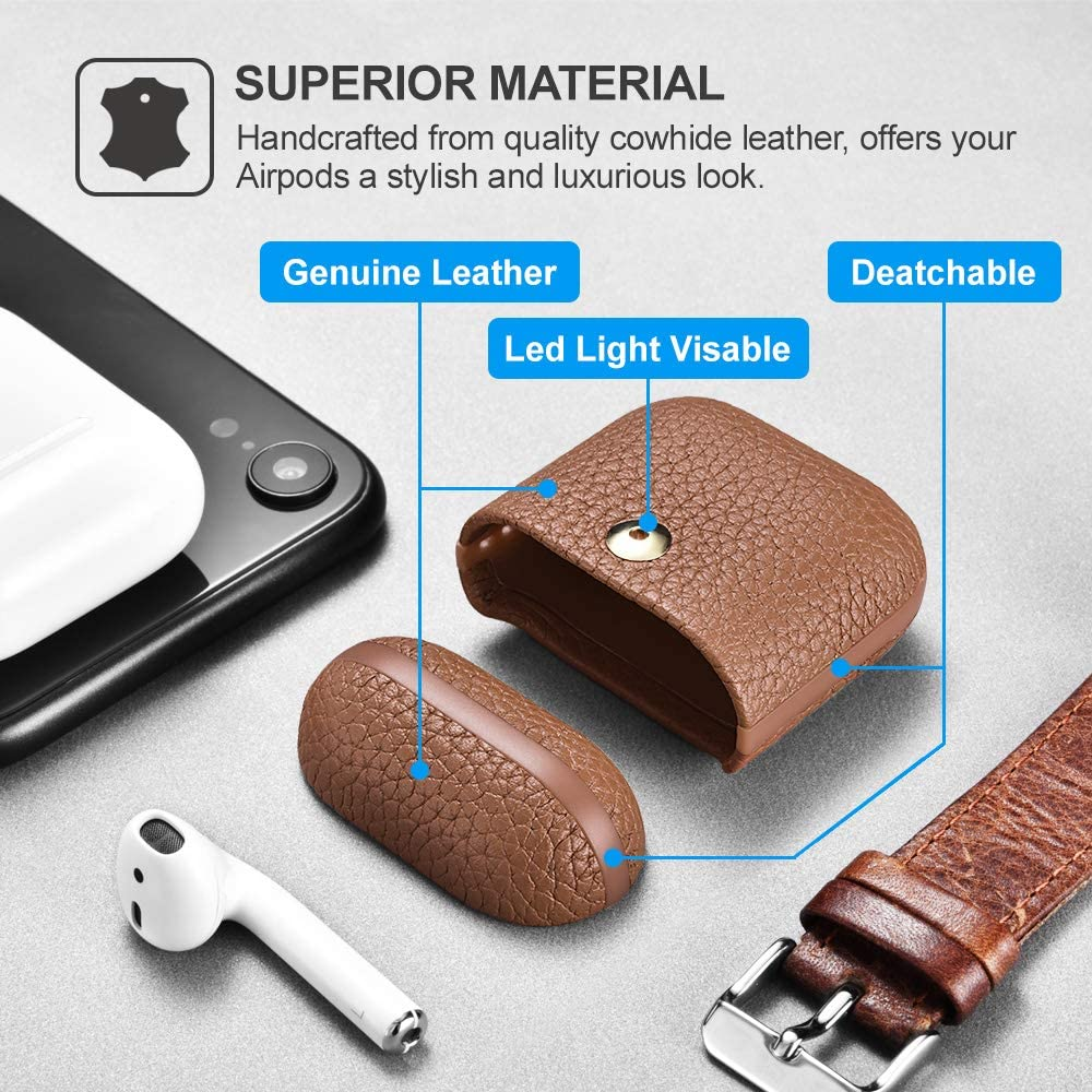 Brown Airpods Leather Case The Led Visible Support Wireless Charging Protective and Shockproof Genuine Leather Case for Apple Airpod 2 /& 1 ICARER Airpods Case