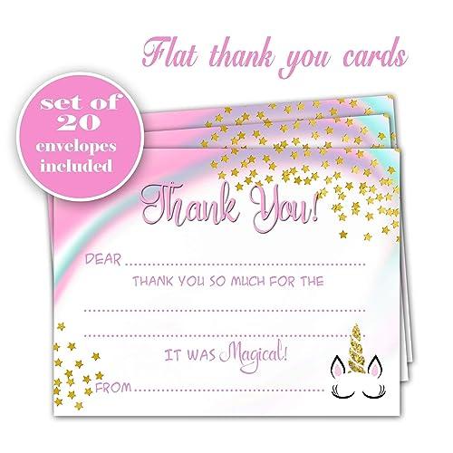 Magnificent Amazon Com Unicorn Thank You Cards Set Of 20 Girl Birthday Personalised Birthday Cards Veneteletsinfo