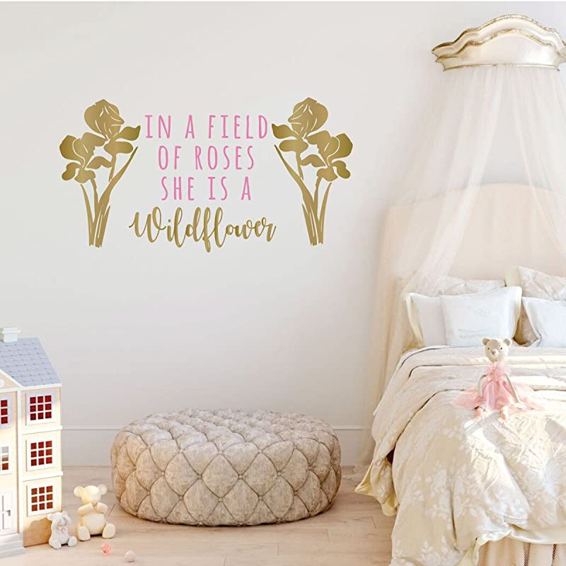 Flowers in a grass nursery kids bedroom  sticker vinyl decal wall art 340